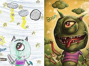 Khi tranh vẽ quái vật thô sơ của trẻ lọt vào tay các họa sỹ chuyên nghiệp